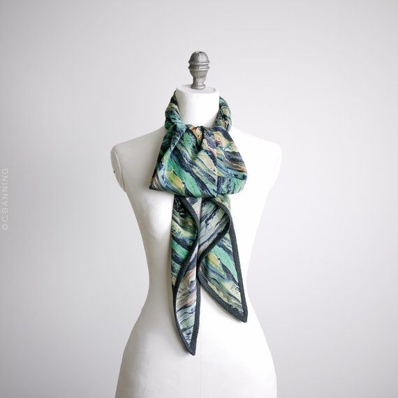 Navy and mint scarf made in Libertys Manning Icelandic landscape print in greans blues with grey trim, denim style, silk triangle scarf