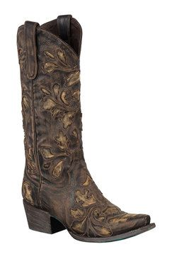 Lane Boots Damask Brown Women's Cowgirl Boots