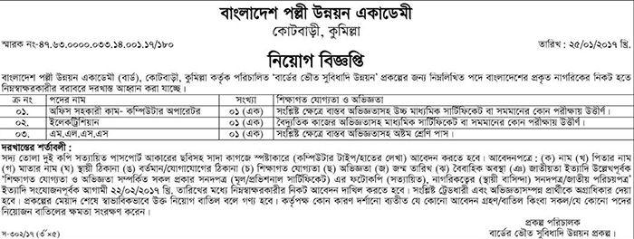 Bangladesh Academy for Rural Development  BARD Job Circular