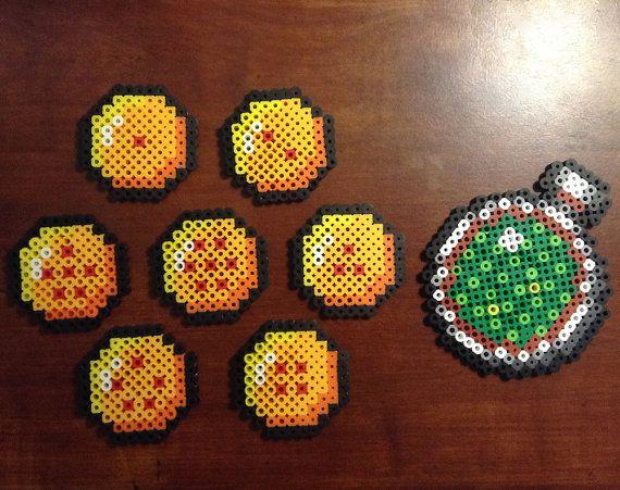 Dragon Balls and Dragon Radar Perler sprites by ThePerlerSpriteShop