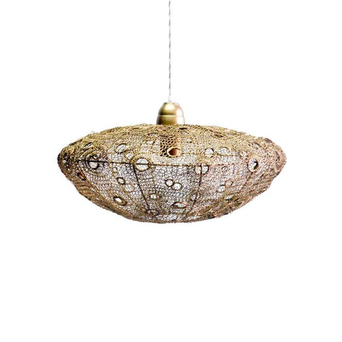 Floral Wire Weave Saucer Pendant Brass Selamat Designs Brass Lighting Hanging Pendant Lamp