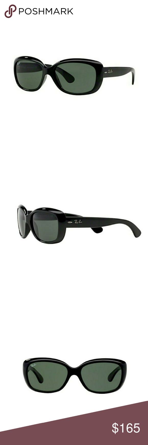 Ray-Ban Black Original Jackie O Sunglasses RB 4101 601 A unique take on the Classic Feminine Ray Ban look. The Jackie O steps up the boldness in Ray Ban women's sunglasses. Featuring Rounded corner and rectangular lens that is incredibly easy to wear. Black Frame- Ray Ban Signature on both sides. Original G-15 lenses size 58mm comes with Authentic Ray B an case and Authentic Ray Ban Cleaning Cloth NWOT. Flawless condition. Never worn. 100% authentic Ray-Ban Accessories Sunglasses