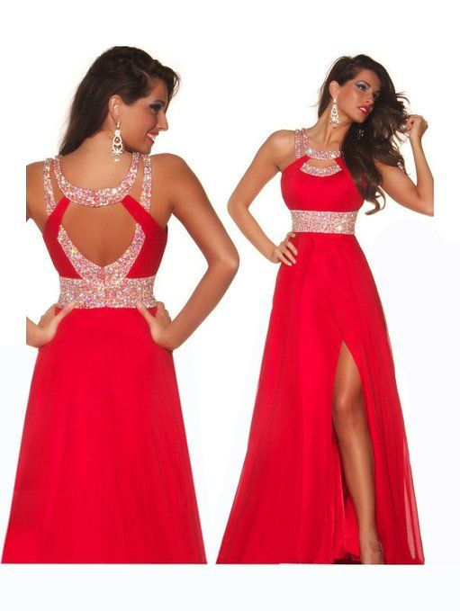 Formal Red Chiffon Evening Ball Cocktail Prom Dress Bridesmaid Dresses Gown
