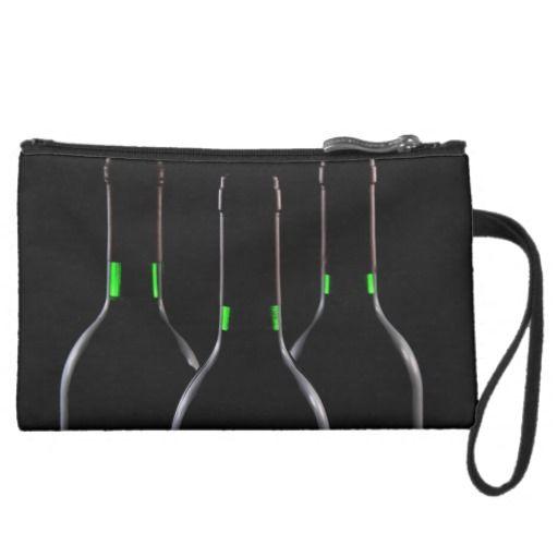 Wine Bottles Black Suede Mini Wristlet Clutch - #theheartshoppe #windywinters #zazzle
