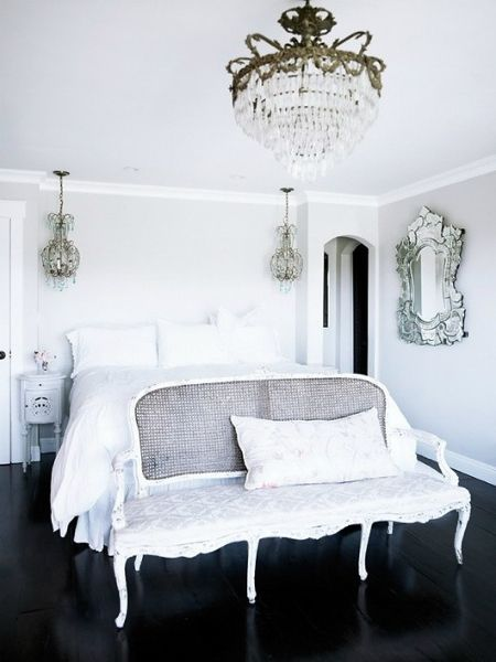 Love This Room! Black Wooden Floor, All White, Chandeliers, Vintage Mirror  And That Bench!