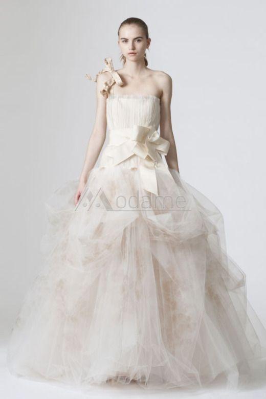 Abiti da Sposa Lunghezza A Terra Ball Gown Tulle Sala Fusciacche All'aperto con One Shoulder