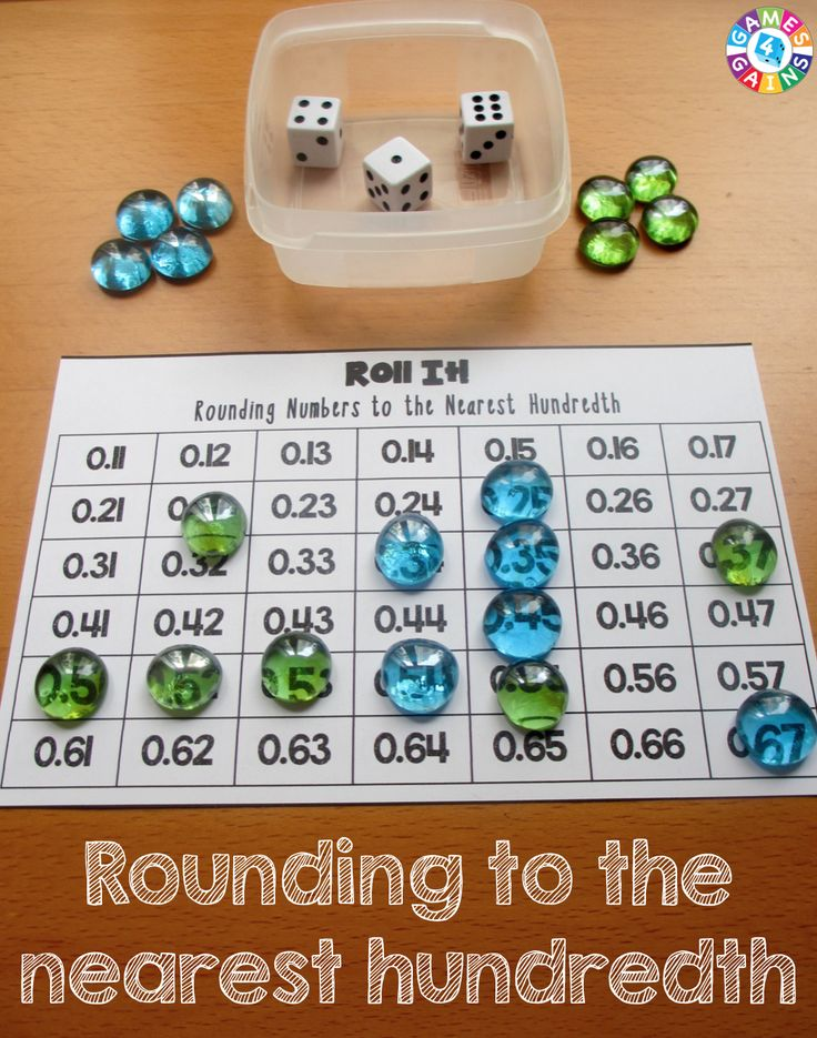 5th (2)  Number and operations. The student applies mathematical process standards to represent, compare, and order positive rational numbers and understand relationships as related to place value. The student is expected to: (C)  round decimals to tenths or hundredths. This is related because the students take the 3 numbers form the dice and round and find it on the chart. I would use this in math stations for extra practice.