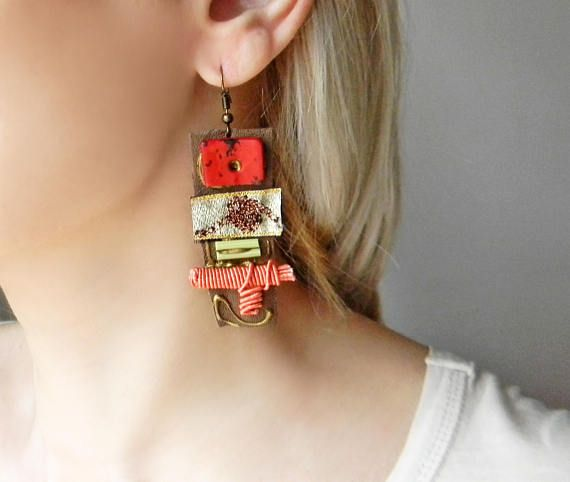 Mixed media long dangle earrings with leather and fabrics