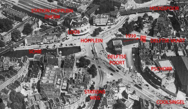 Hier zie je waar alles was voor mei 1940. Ook de oude plaats van het Hofplein.