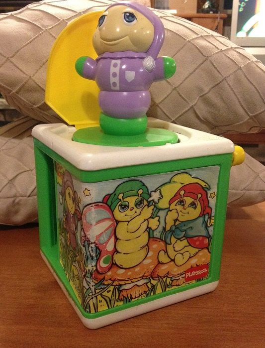 Up for Sale :    Glow Worm Jack in the Box    Normal play wear, but in good condition. Wind up works but the lid takes a bit of fiddle to close. ************************************************ All items come from a smoke-free home **Shipping fees vary for international buyers**