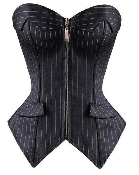 Attractive Striped Back Lace-Up Zippered Corset For Women