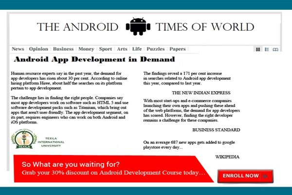 Learn #Android application Development @ 30% off and take the first step on your journey to becoming an #Android_developer ! Hurry offer close on March 8, 2016. Meet the demand!!!