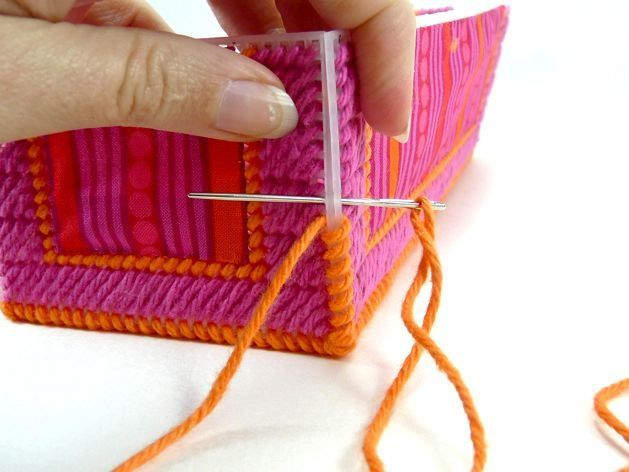 Plastic canvas box craft - great ideas of materials and fabric swatches...