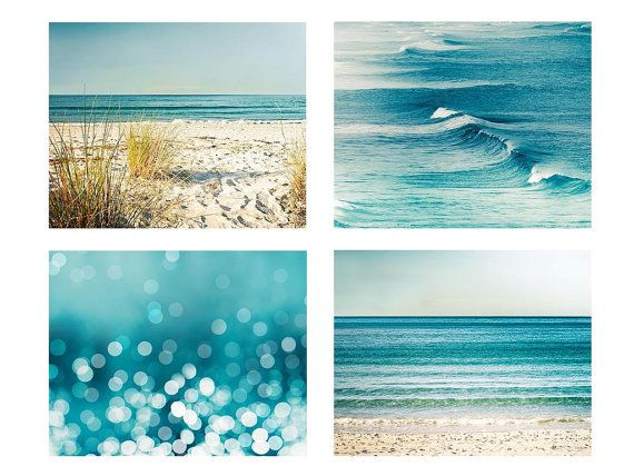 Beach photography print set ocean photography nautical decor 5×7 8×10 11×14 fine art photography waves bokeh photography abstract teal aqua – Melissa Pasdon Design Studio