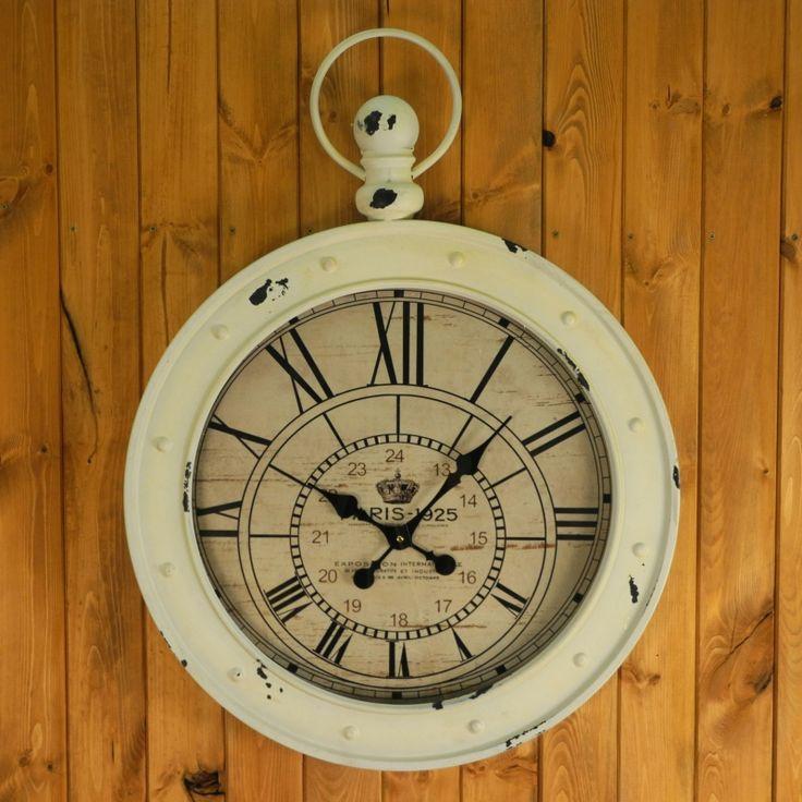XXL hodiny nástěnné - bílé s patinou