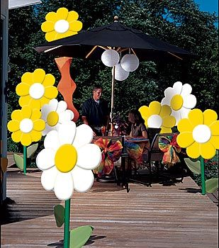 Use our cardboard daisies and paper lanterns to create a fun party scene.