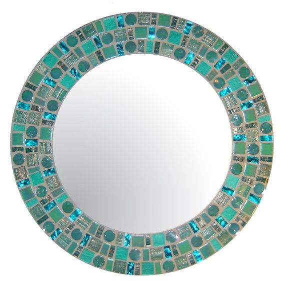 Sea Green Beach Mosaic Mirror  Round Glass Mosaic por opusmosaics, $130.00