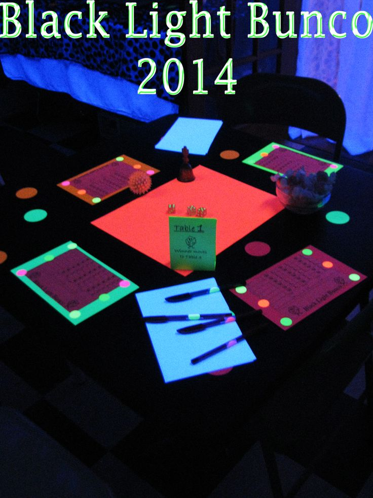 Added a little fun to January Bunco!  Some glowing dice, and glowing score sheets but I could not find glowing candy.