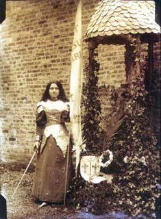 """St. Therese of Lisieux was a French nun who died young (at 24) and was eventually canonized. She was a woman of """"little"""" miracles; an """"ordinary"""" saint. in 1894 she wrote 2 plays about Joan which the sisters performed for the community. This is Therese in costume as Joan. Kind of amazing."""