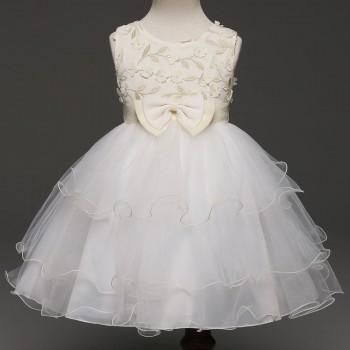 Lovely 3D Flower Sleeveless Bowknot Lace Party Dress for Girls