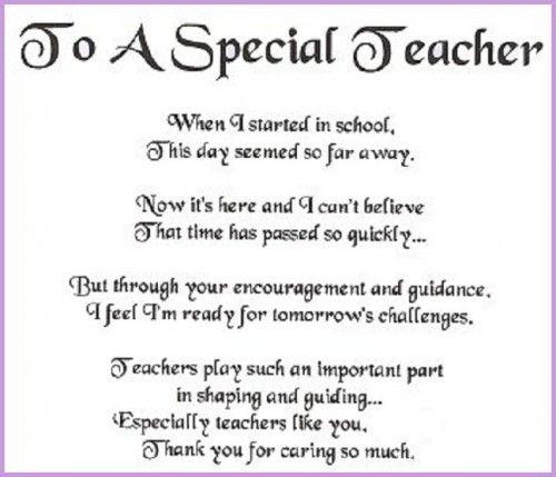 Best  Thank You Teacher Poems Ideas On   Teacher