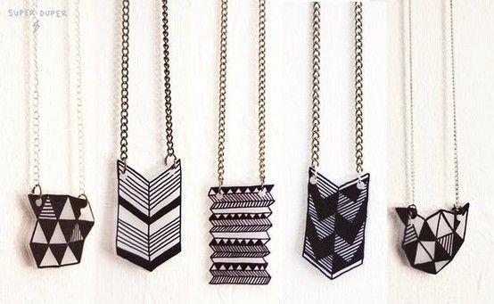 shrinky dink geometric jewelry