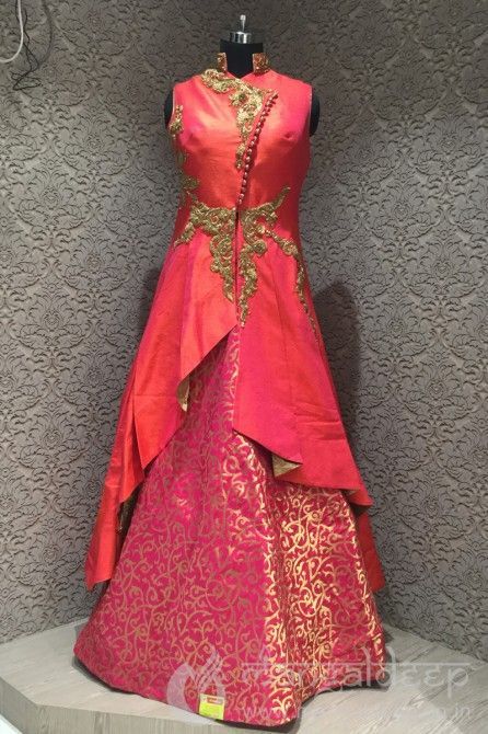 Readymade Pink Raw Silk Diamond Work Indowestern Lehenga. For more information :- Call us @+919377222211 (Whatsapp Available)