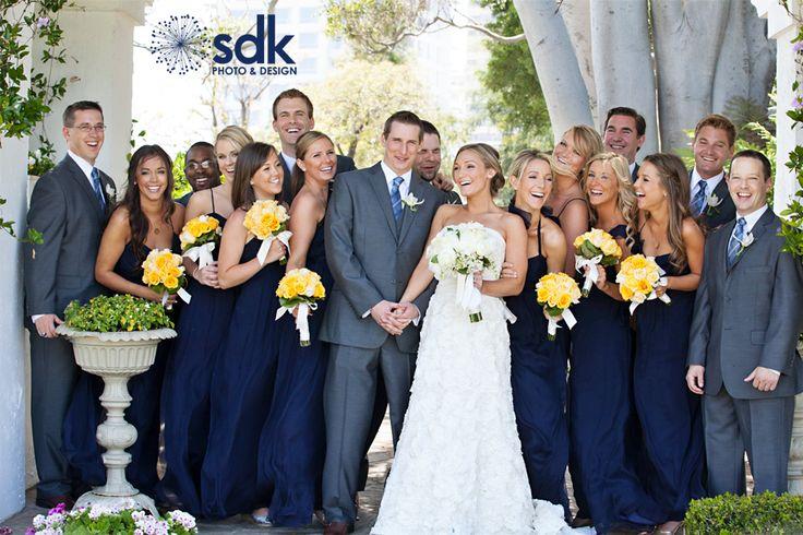 SDK Photo & Design: Molly + Justin's spring yellow + navy wedding: Yellow Flowers, Orange Wedding, Navy Bridesmaid Dresses, Orange County, Families Photographers, Navy Dresses, Gray Suits, Dark Grey Suits, Navy Wedding