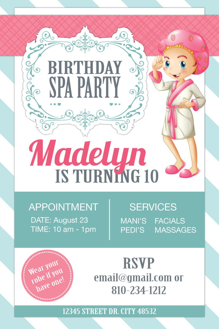 Birthday Spa Party Invitation for 10 year-old.