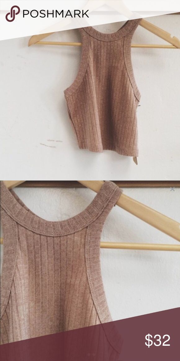 Ribbed High Neck Camel Crop Top S Adorable tank. Bought from another posher and never wore it! Brand is Cotton Candy LA. Size small. Boutique Tops Crop Tops