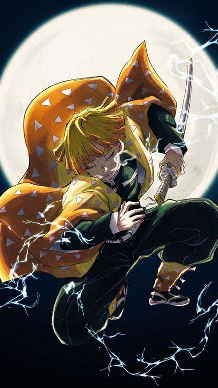 Agatsuma Zenitsu Demon Slayer Wallpaper Anime, Ảnh tường