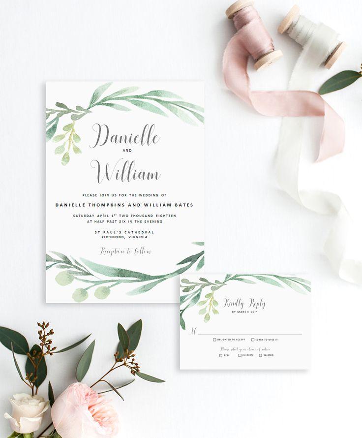Printable wedding invitation template | Rustic wedding invitations | Greenery wedding invitations | DIY wedding invitations