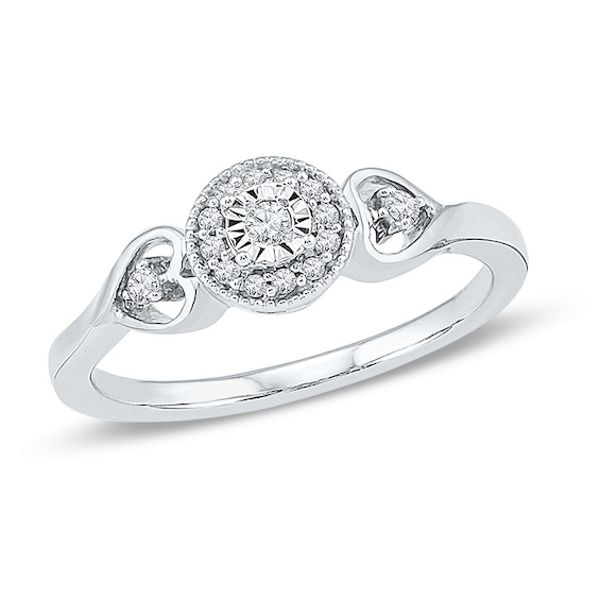 1 8 Ct T W Diamond Frame Heart Sides Promise Ring In 10k White Gold In 2020 Promise Rings White Gold Fashion Rings