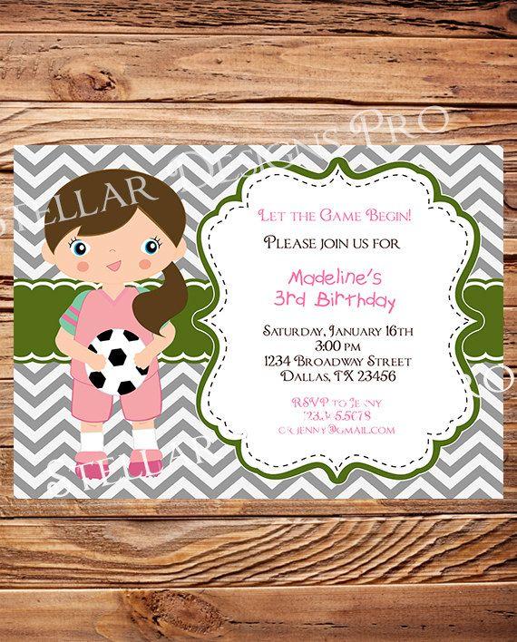 Soccer Birthday Party Invitation, GIRL, Soccer Birthday Party, Gray, Green, Chevron Stripes, Printable, Digital (Item4077) via Etsy