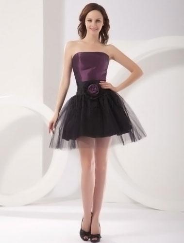 Modern Purple Strapless A-line Taffeta Womens Homecoming Dress