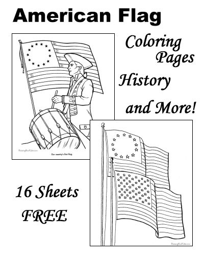 American flag coloring pages, history of the American flag and more!