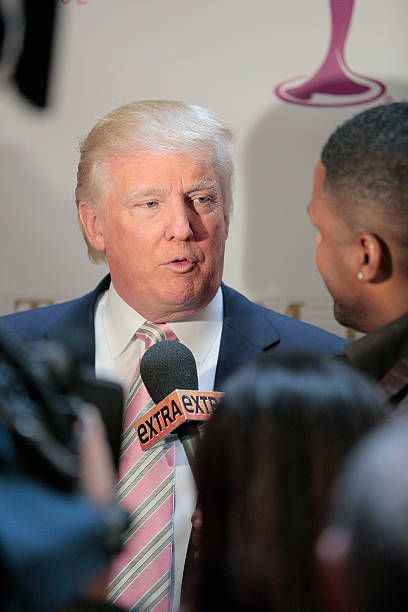 Donald Trump gives extra time to interviews after he crowns the new Miss USA at Trump Tower on January 9 2013 in New York City