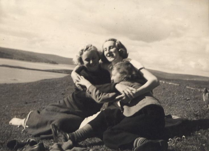 Three sisters walking out on the hill, Highlands 1930s
