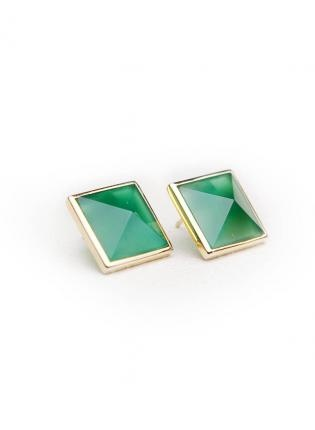 ustrendy, Green Agate Pyramid Cut Stones Set in Sterling Silver,  Jewelry, green studs  pyramid cut earrings, Chic