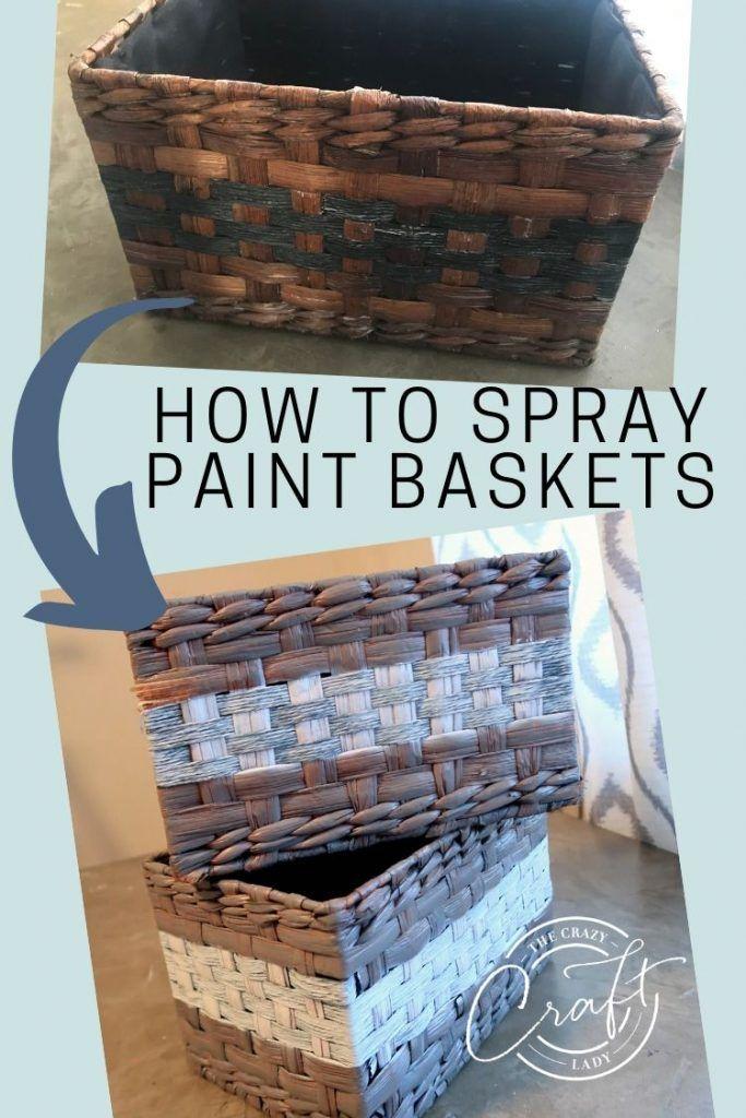 How To Spray Paint Wicker Baskets In 2020 Spray Paint Wicker Spray Painted Baskets Painted Wicker