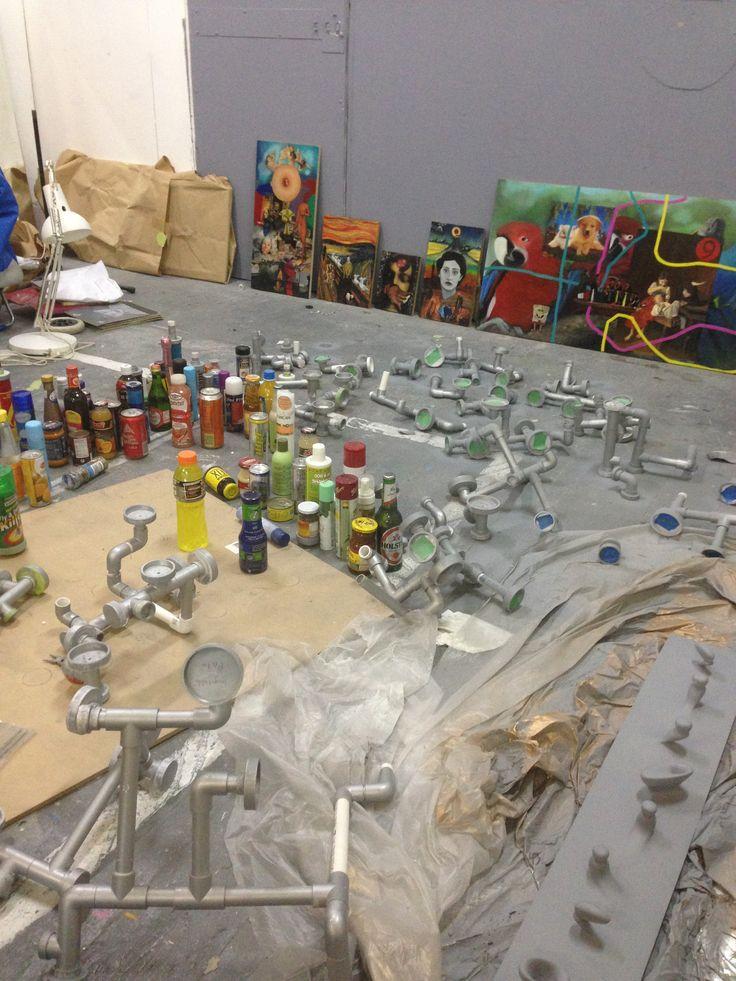 Sean Peoples' Studio space, Gertrude Street - work in progress