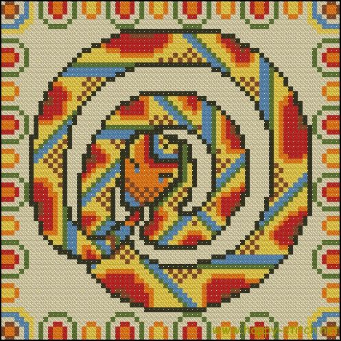 Ethnic snake cross stitch cushion pattern | Happy Stitch