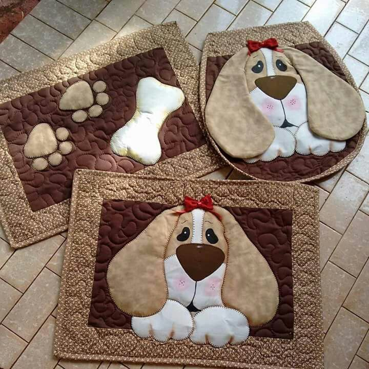 I know this is for a bathroom set, but can't you just see the rectangle pieces being used as placemats for your dogs dinner bowl and the water dish. LOVE IT !!!! ~Krissy