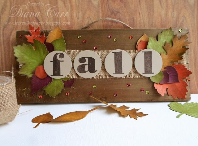 Stampin' Up! Vintage Leaves and Larger than Life Alphabet Fall Home Decor by secretlifeofpaper.com