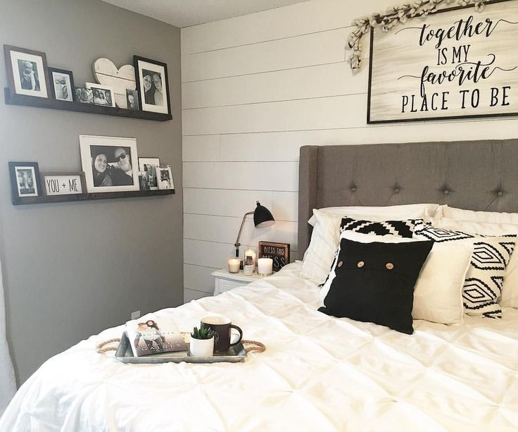 Master Bedroom Decor, Black and White Decor, Modern Farmhouse, Farmhouse Style, Farmhouse Decor, Shiplap Wall, DIY Shelves, Black and White Bedroom,   See Instagram photos and videos from Robin Norton (@rocknrob)