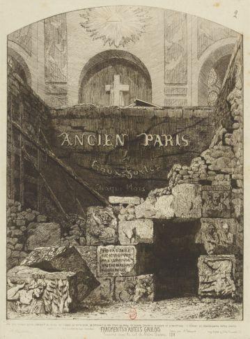 fragment d'autel gaulois trouve sous le sol de notre dame en 1711
