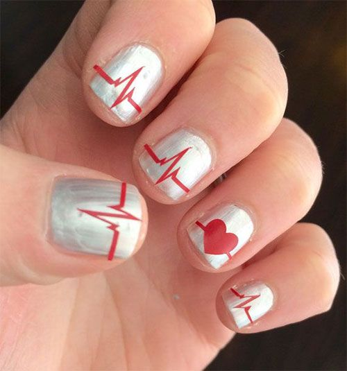 26 best Valentine\'s Day Love Heart Beat Nail Art images on Pinterest ...