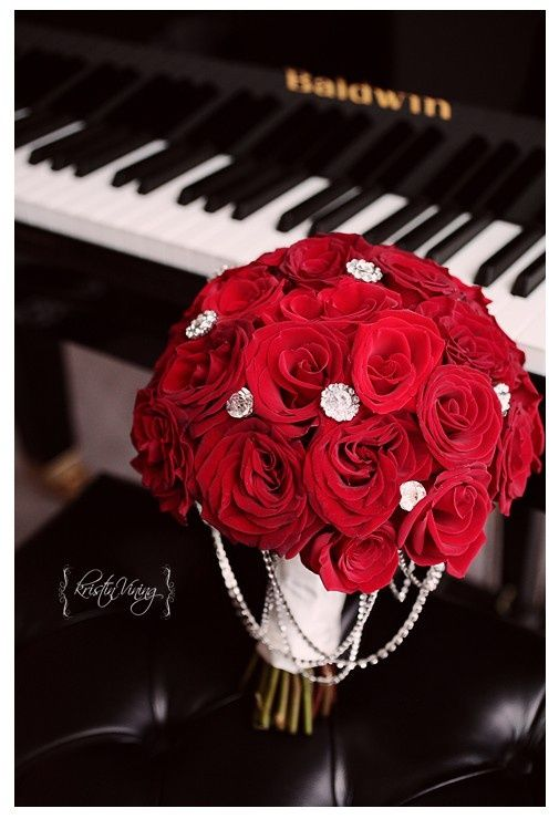 Red and crystals   Wedding Bouquet Love the Red roses with the bling!!