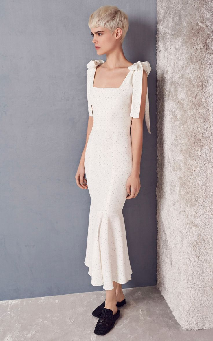 White Fit and Flare Midi Dress with Bow Shoulder by Alexis | Moda Operandi