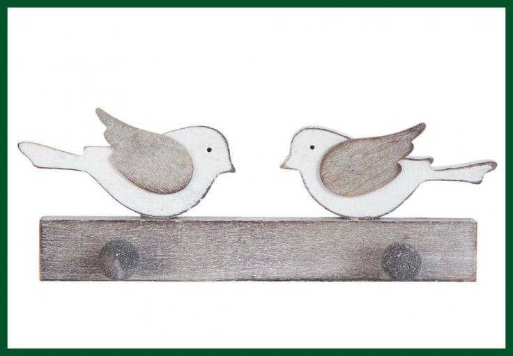 Garderobe Wandhaken Vögel Holz Handarbeit Vintage